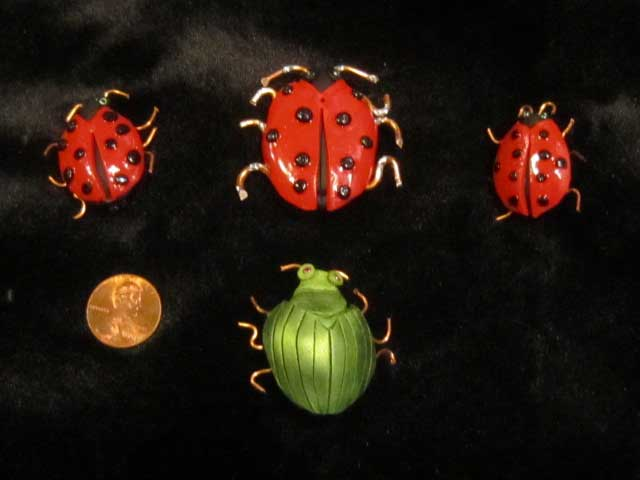 Iridescent Scarab Beetles and Lady Bugs Pins