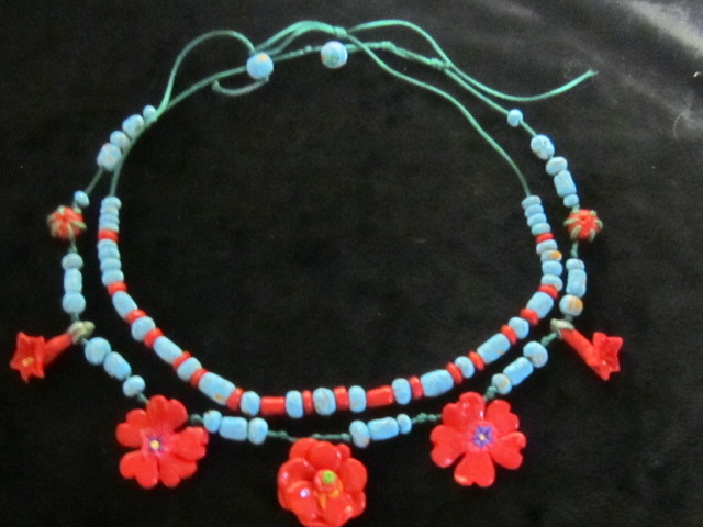 Southwest Necklaces - Turquoise ane Red Beads and Wildflower